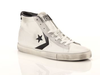 Converse Pro Leather Vulc Mid Leather Bianche Nere  big