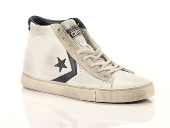 Converse Pro Leather Vulc Mid Leather Bianco Blu  big