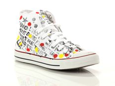 Sneaker alta Converse All Star Chuck Taylor High Canvas LTD White Black Writing Hand Paint
