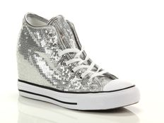 Sneaker alta Converse Chuck Taylor All Star Mid Lux Sequins Silver White Black