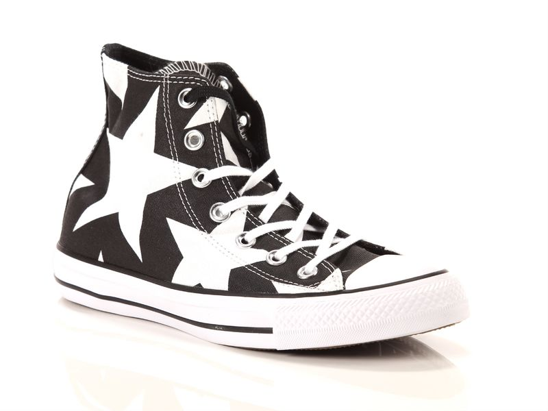 Image of Converse chuck taylor all star high canvas print black white big stars, 36, 36½, 37, 39½ Donna, NoirNegro
