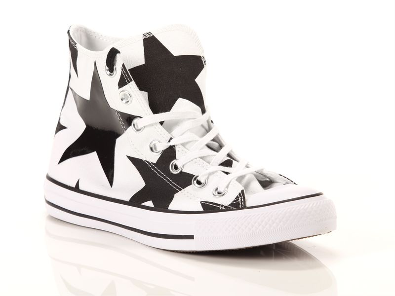 Image of Converse chuck taylor all star high canvas print white black big stars, 36, 36½ Donna,