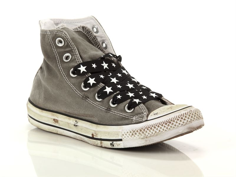 Image of Converse chuck taylor all star high canvas ltd charcoal distressed star laces, 37 Donna,
