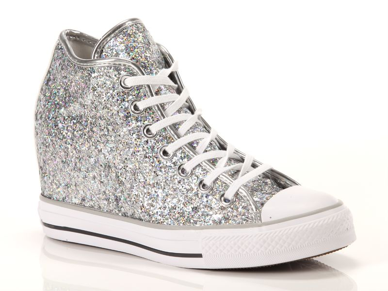 Image of Converse chuck taylor all star mid lux glitter silver, 36, 37, 37½, 38, 38½, 39, 40, 40½ Donna, NoirNegro