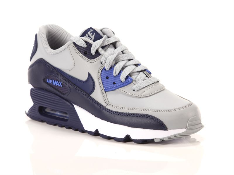 Image of Nike air max 90 leather gs wolf grey binary blue comet blue white, 37½, 38½, 39 NoirNegro